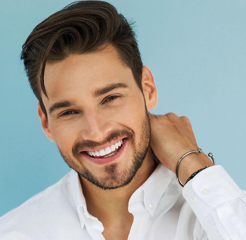 Stock image of a male model smiling